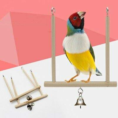 Wooden Swinging Trapeze with Bell Bird Cage Budgie Canary Toy 12cm x18cm