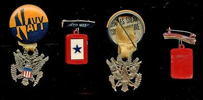 WWII WW2 Homefront US Navy SON IN SERVICE Celluloid, + Pinback w/ Eagle Jewelry