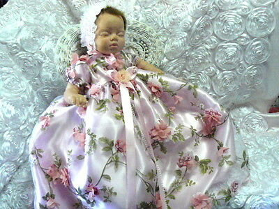 Pink 3D Roses Floral Organza Gown For Reborn Or Baby Size 0-3Mth Victorian
