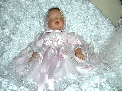 Reborn/baby Dress Victorian  Organza Pink  3 D Tinted Roses For/ Sz 0-3 Mth