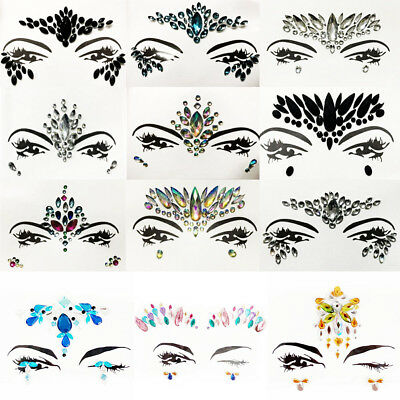 Festival Halloween Rave Eye Face Stick-On Gems Jewels Flat Rhinestone Stickers