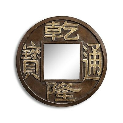 Chinese Coin Good Luck Feng Shui Wall Mirror Bath Vanity Foyer Wall Decor 23''H