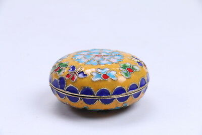 Exquisite Chinese Cloisonne handmade painting flower box  BB65
