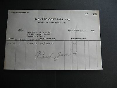 Harvard Coat Mfg. Co 147 Kingston St Boston Massacutsetts