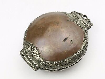 Antique Copper Silver White Metal Tibetan Chinese Opening Pouch Box Snuff Purse