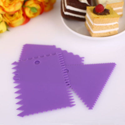 3pcs Cake Edge Side Plastic Scraper Cutter Butter Cream Icing Baking Smoother
