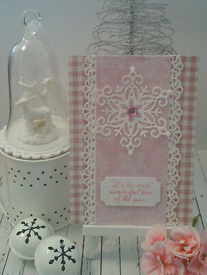 Handmade Christmas Card:Gingham with Star Snowflake