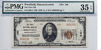 1929 $20 Westfied Massachusetts - The First NB CH# 190 VF-35 EPQ PMG Certified