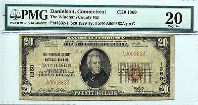 1929 $20 Danielson Connecticut - Windham County NB CH# 1360 VF-20 PMG Certified