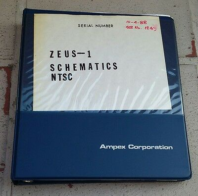 Original Ampex VTR Zeus 1 Advanced Video Processor Schematics NTSC Srvice Manual