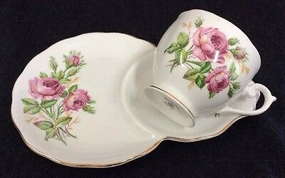 Queen Anne Pink Roses Tennis Snack Set Teacup And Plate  Vintage