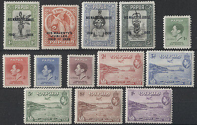 PAPUA  1930s: M/MLH oddments to 1sh - please check out both large images (13)