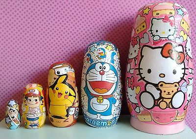 Hello Kitty Kawaii Sanrio Russian dolls Hand Crafted Originals