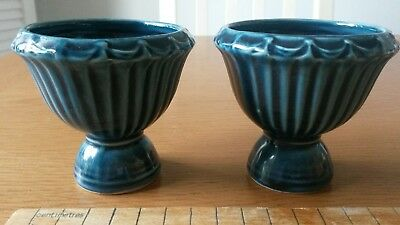 2  pair of vintage dartmouth pottery blue small posey vase 7cm tall