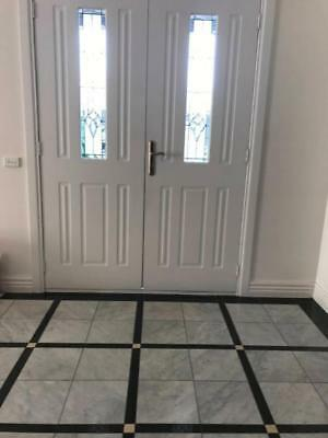 Classic Solid Entrance Door With Lead light Glass