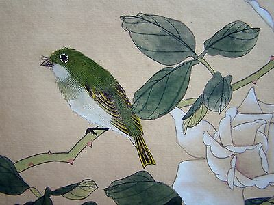 Vintage Original Hand Painted Chinese Silk Painting of Little Bird