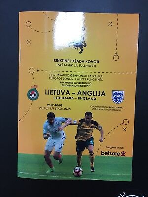 Lithuania V England . Wc Qualifying 08/10/2017 Programme . Mint Condition