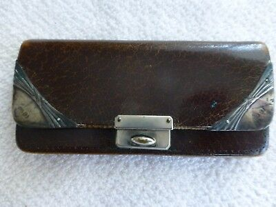 Antique Art Deco Victorian Era Leather Purse With 925 Silver Mount Corners Clasp
