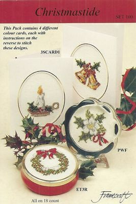 "Framecraft Pack Of 4 Christmas Cross Stitch Card Designs ""Christmastide"""