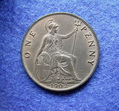 1902 Low Tide Penny Edward VII RARE Coin about uncirculated