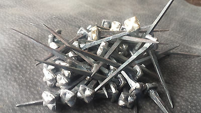 100pce Square Gothic Head Hand Forged Blacksmiths Wrought Iron Nails 53mm Long