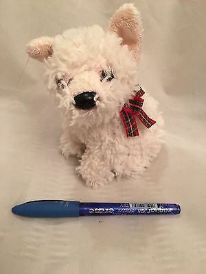 Little White Highland Terrier Dog with Tartan Bow - Soft Toy - BARGAIN PRICE
