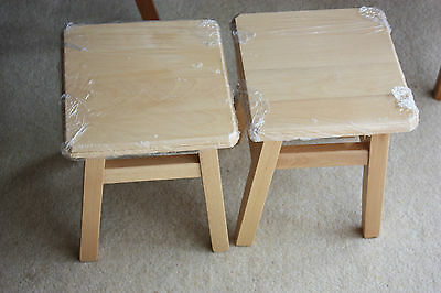 New 2 Well made Wooden stools top 9 inches square height 11 inches light beech