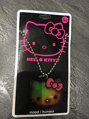 Girls Hello Kitty Sanrio Colour Changing Mood Necklace On Silver Chain