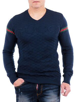 GUCCI Sweater, Dark Blue And White Mens Pullover, Cotton Jumper With GG Knit