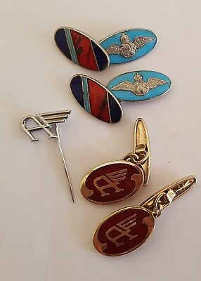 Vintage World War 2 RAF Official Military Cuff Links and Tie Pin