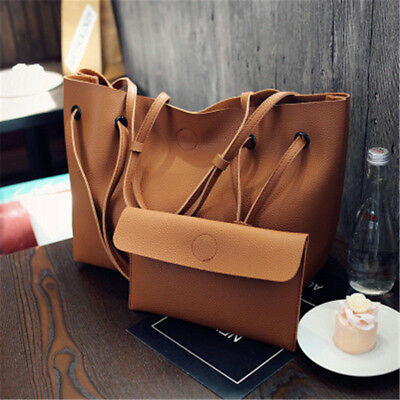 2Pcs/Set Women's PU Leather Shoulder Bag Messenger Satchel Tote Bucket Handbag