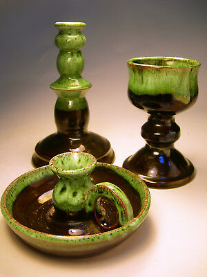 Collectable Devon Pottery Candle Holders & Goblet VGC (WH_1550)