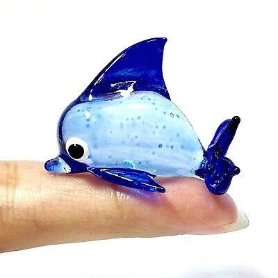 Miniature Baby Blue Dolphin Glass Statue Animal Figurine Fish Collectibles Decor