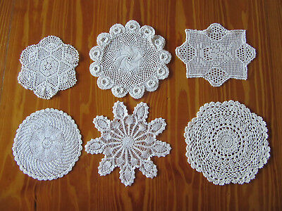 6 X Vintage Small 'White' Crocheted Doilies