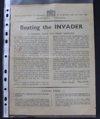 WW2 Home Front (1939-1945) Beating the Invader leaflet. Winston Churchill