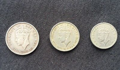 KGVI Colonial Coins X 3 Cyprus Mauritius British West Africa