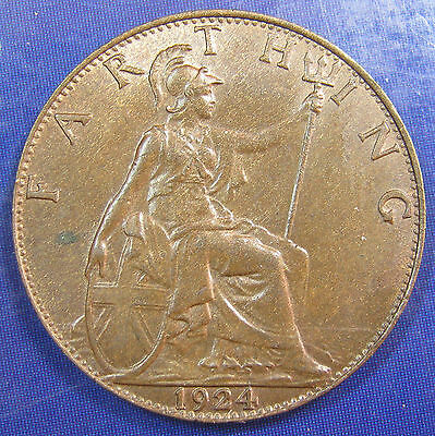 1924 ¼d George V bronze Farthing in an extremely high grade
