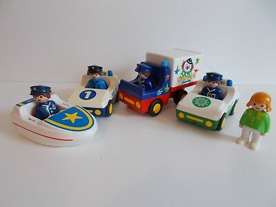 Playmobil 123  -2 police cars, boat, circus van and 5 people