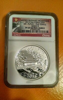 2013 China Silver 20 Yuan Sacred Buddhist Mountain Putuo Puji Temple Ngc Pf69 Uc