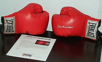Muhammad Ali Signed Boxing Gloves Set Of 2 Everlast Autographed In Silver Psa