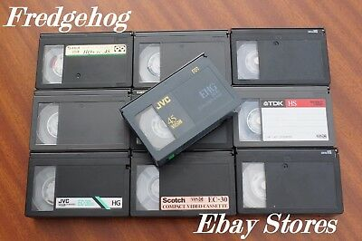 ASSORTED VHS-C VIDEO CAMCORDER TAPES / CASSETTES - EC-30 & EC-45s - PACK OF 10