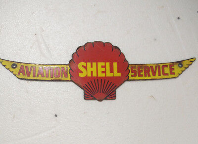 Porcelain Sign Shell Aviation Service 15X4.5 Inches Approx