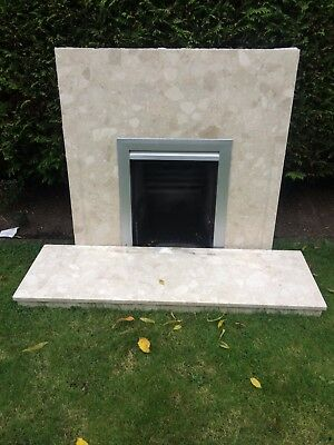 Marble fireplace back plate panel and hearth