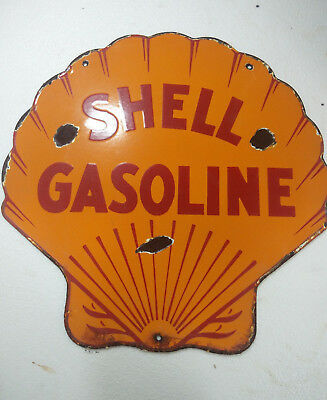 Porcelain Sign Shell Gasoline 18X18 Inches Approx