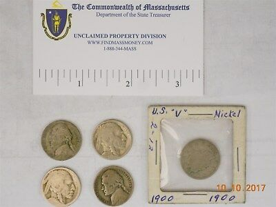 (1) Us 5 Cent, 1900. (2) 5 Cent, Indian Head. (2) 5 Cent, Wartime, Silver