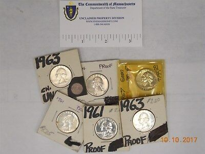 (5) Us 25 Cent Silver Proofs, 1957, 1961, 1961, 1963, 1964 (1) Us 25 Cent, 1963