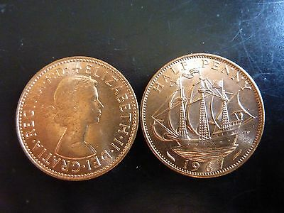 50th birthday - two uncirculated UK 1967 halfpenny