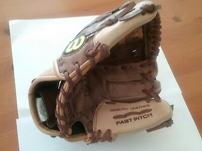 Quality Wilson Fast Pitch soft ball glove. Leather. Ladies size. Right hand fit.