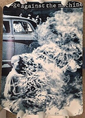 """RAGE AGAINST THE MACHINE, RARE LICENSED,  XL 37,5"""" X 53,5""""  1990's POSTER"""