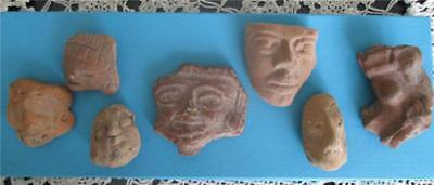 Seven Authentic Pre-Columbian Carved Head / Faces